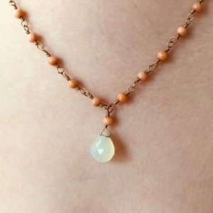 Romantic Anthropologie Coral & Moonstone Necklace